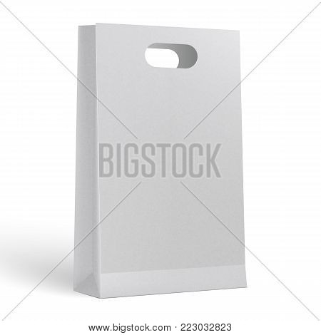 3d realistic vector illustration of white paper shopping bag. Blank Paper Bag Template Vector.
