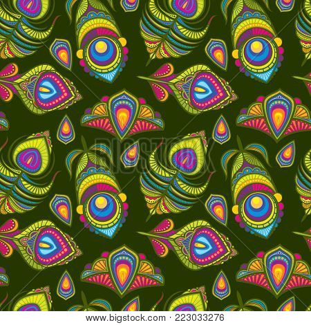 Peacock bird feathers vector indian traditional seamless pattern. Bird feather and bright plumage fluffy illustration