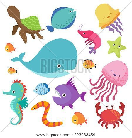 Cartoon childrens aquarium and wild sea fishes vector set. Fish and sea animal, nature marine underwater wildlife illustration