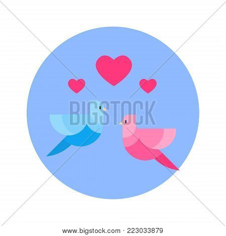 Couple Of Birds With Heart Shape Icon On Blue Round Background Isolated Vector Illustration