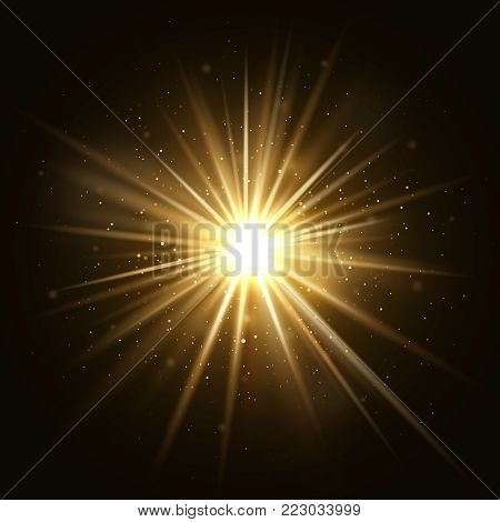 Gold star burst. Golden light explosion isolated on dark background vector illustration. Effect star and sparkle, flash and shine golden