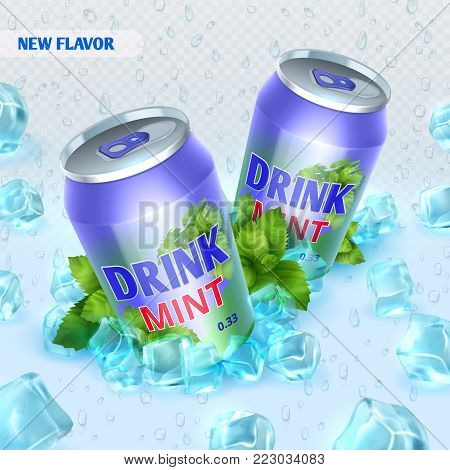 Fresh ice drink vector background with ice cubes. Drink mint in ice crystal cube illustration