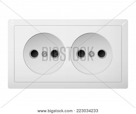 Twin electrical socket Type C. Power plug vector illustration. Realistic receptacle from South Asia.