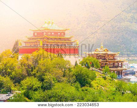 Guishan Si monastery in Shangri-la County, or Zhongdian, Yunnan Province, China.