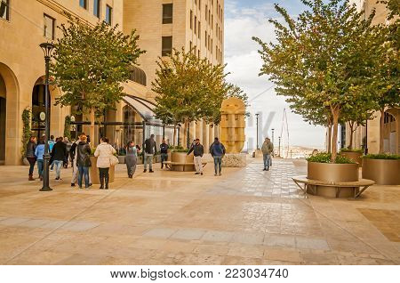 RAWABI, WEST BANK, PALESTINE. November 11, 2017. A view of the downtown area of a newly built Palestinian town of Rawabi. It is called a