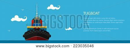 Banner with Tugboat, Pushboats for Towage and Mooring of Other Courts and Text , Poster Brochure Flyer Design, Vector Illustration