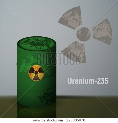 Radioactive uranium in the green barrels. Pollution by toxic emissions. Vector illustration.