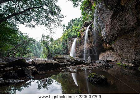 Haew Suwat waterfall  at Khao Yai National Park  Nakhon Ratchasima povince , Landscape Thailand