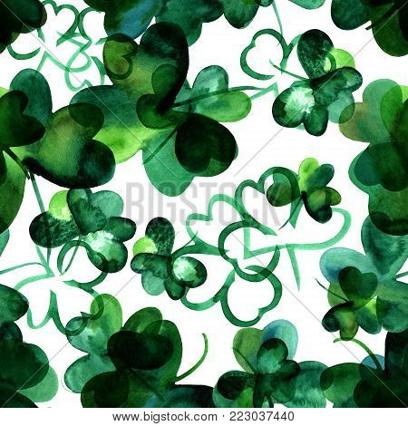 A seamless background pattern with hand drawn watercolour shamrocks on a white background, St Patrick's Day repeat print