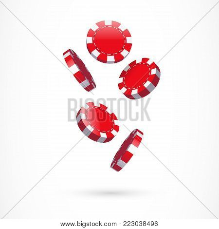 Illustration of casino chips. Gambling, playing, luck. Fortune concept. Can be used for topics like game, fortune, addiction
