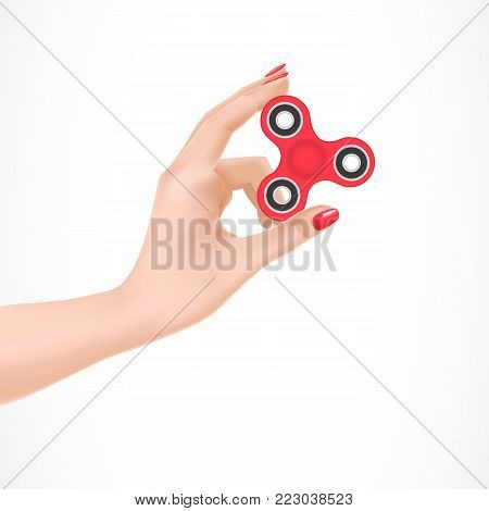 Illustration of red fidget spinner in female arm. Spin, toy, stress. Meditation concept. Can be used for topics like stress management, relaxation, keeping calm