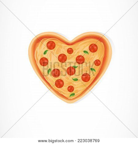 Illustration of heart shaped pizza. Dinner, restaurant, Italian food. Romance concept. Can be used for topics like Valentines day, celebration, dinner