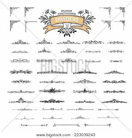 Collection of vintage flourishes calligraphic ornaments. Retro style of design elements, decorations for postcard, banners, dividers. Vector template.