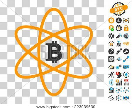 Bitcoin Atom icon with bonus bitcoin mining and blockchain icons. Vector illustration style is flat iconic symbols. Designed for blockchain ui toolbars.