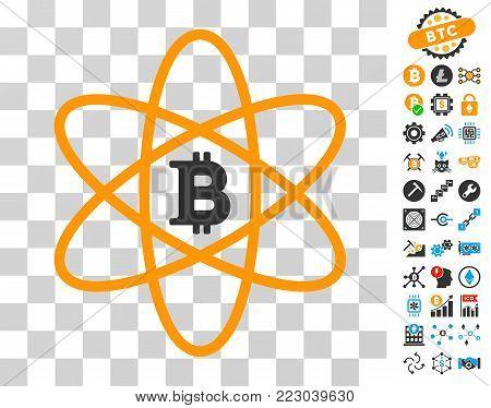 Bitcoin Atom icon with bonus bitcoin mining and blockchain icons. Vector illustration style is flat iconic symbols. Designed for blockchain ui toolbars.