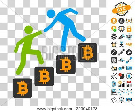 Bitcoin Business Climbing Help pictograph with bonus bitcoin mining and blockchain clip art. Vector illustration style is flat iconic symbols. Designed for cryptocurrency websites.