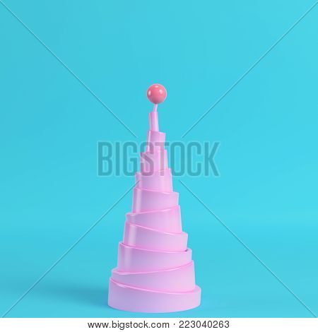 Abstract pyramid with sphere on the top on bright blue background in pastel colors. Minimalism concept. 3d render