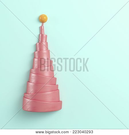 Abstract pyramid with sphere on the top on bright background in pastel colors. Top view. 3d rendering
