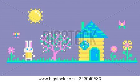 Pixel art scene with cute rabbit who meets spring.