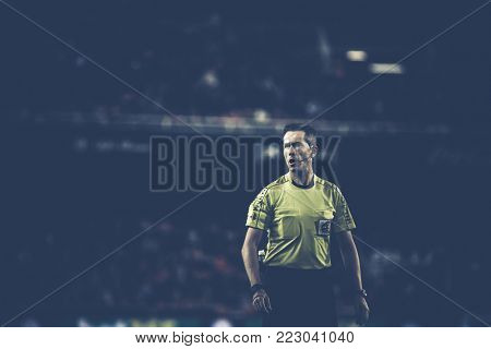 2018 in Valencia, spain, SPAIN - JANUARY 17: Referee Jose Luis Gonzalez during Spanish King Cup match between Valencia CF and Alaves at Mestalla Stadium on january 17, valencia