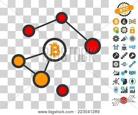 Bitcoin Damaged Network icon with bonus bitcoin mining and blockchain icons. Vector illustration style is flat iconic symbols. Designed for crypto-currency apps.