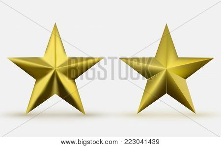 Two realistic metallic golden stars isolated on white background. Shiny and glossy yellow five-pointed star. A symbol of leadership, honor, courage, commitment and achievement.