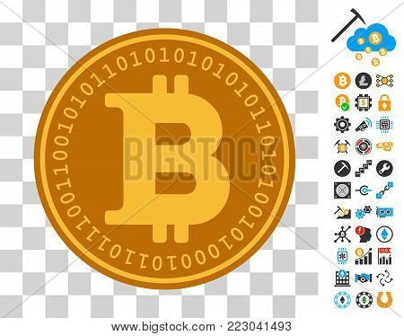 Bitcoin Digital Coin icon with bonus bitcoin mining and blockchain pictograms. Vector illustration style is flat iconic symbols. Designed for bitcoin apps.