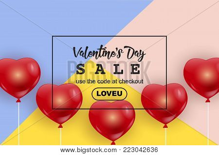Valentine's Day sale web banner, flyer concept. Valentines Day sale, red cute balloons in shape of heart, trendy colorful background, black frame, promo text, vector illustration. Valentine's Day banner, flyer. Valentines Day sale background.