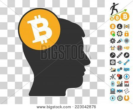 Bitcoin Imagination Head pictograph with bonus bitcoin mining and blockchain symbols. Vector illustration style is flat iconic symbols. Designed for crypto currency ui toolbars.