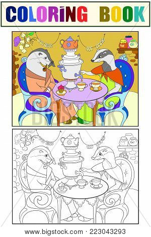 Family of badgers in their house in the kitchen coloring book for children cartoon vector illustration. Color, Black and white interior of the house of animals