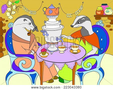 Family of badgers in their house in the kitchen color book for children cartoon vector illustration. Interior of the house of animals