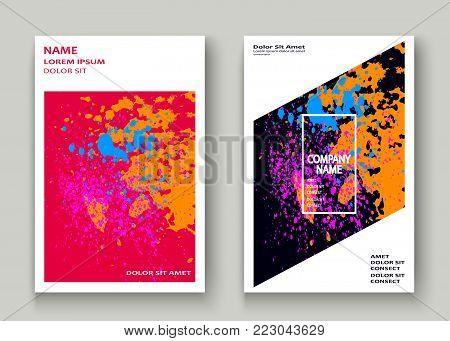 Neon Explosion Paint Splatter Artistic Cover Frame Design. Decorative Dust Splash Spray Texture Blue