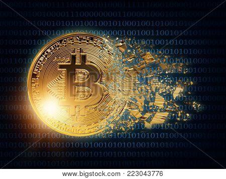 Splited gold bitcoin on a wdark blue background