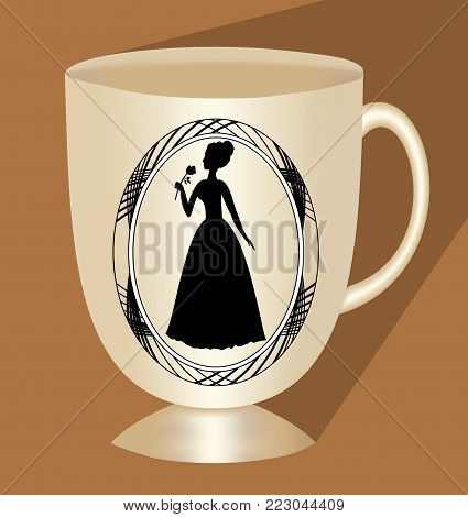 Nostalgic beige coffee cup with victorian lady silhouette, traditional ceramics, 3d cup with long shadow on light brown background, Vector EPS 10