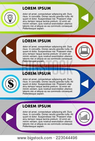 Infographic process visualization template, abstract vector with icons and copy space, five multicolored elements available, vector EPS10