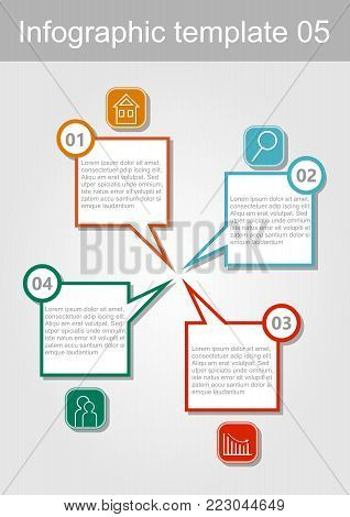 Infographic visualization template, abstract vector with icons and copy space, four multicolored elements available, vector EPS10