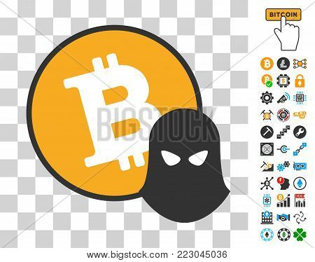 Bitcoin Spy icon with bonus bitcoin mining and blockchain graphic icons. Vector illustration style is flat iconic symbols. Designed for cryptocurrency apps.