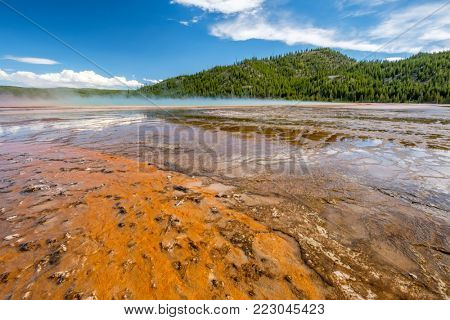 Hot thermal spring Grand Prismatic Spring in Yellowstone National Park, Old Faithful area, Wyoming, USA