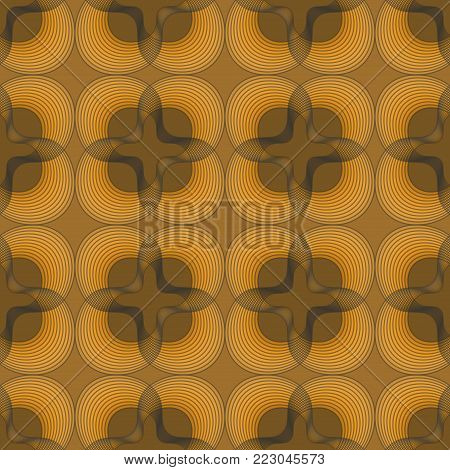 Classic outline black patterns on gold background, square and floral shapes, geometric seamless vector background, vector EPS 10