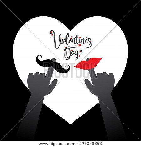 happy valentine's day greeting card, with lips and moustache concept on white heart background