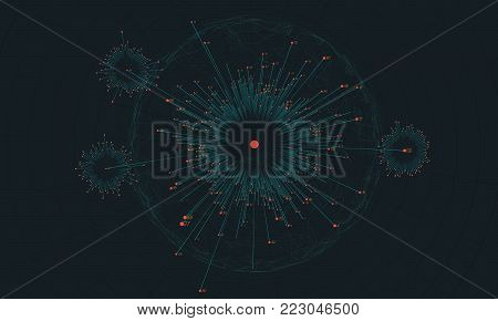 Big data circular visualization. Futuristic infographic. Information aesthetic design. Visual data complexity. Complex data threads analysis. Social network representation. Abstract business graph