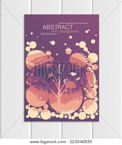 Stock vector illustration design corporate identity style business template with abstract circles and nature design element trees, forest, unusual landscape, decor on violet background for printed materials