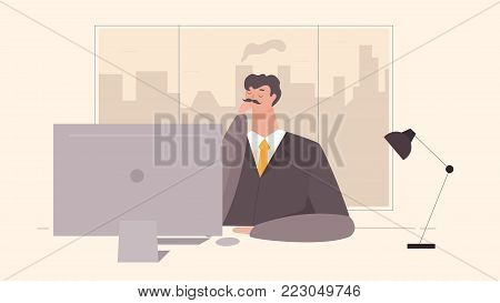 Businessman Working at Office Table. Flat Design Style. Vector illustration of Cartoon Big Boss with Workspace, Table and Computer With Big Window