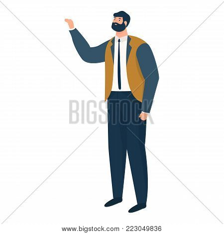 modern man standing with a raised hand isolated on background flat vector illustration