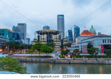 Singapore City, Singapore - 07 19 2015: Singapore Modern Skyscrapers, Architecture And Its River At Day.