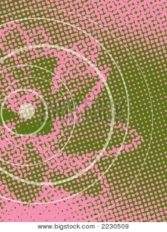 Grunge Retro Halftone Lotus Flower Pink On Green (Vector)