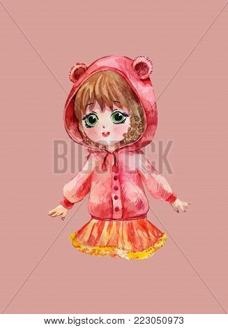 Chibi girl in red hoodie. Little anime child, watercolor illustration