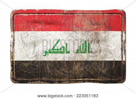 3d rendering of a Iraq flag over a rusty metallic plate. Isolated on white background.