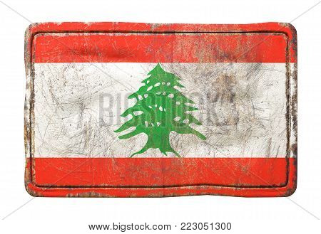 3d rendering of a Lebanon flag over a rusty metallic plate. Isolated on white background.