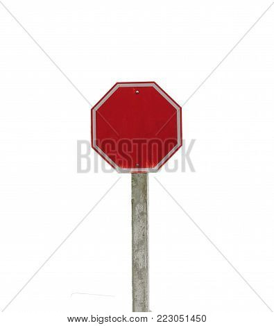 Stop traffic road sign blank. red metal octagon road sign isolated on white background